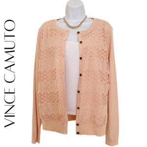 VINCE CAMUTO Pink Crocheted Cardigan, Medium